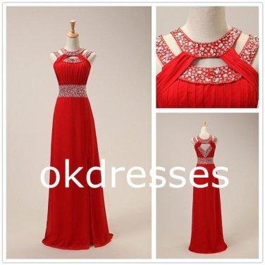 Red Long Fashion Prom Dress,Crystal High Neck Evening Dress,Open Back Chiffon Formal Women Dress