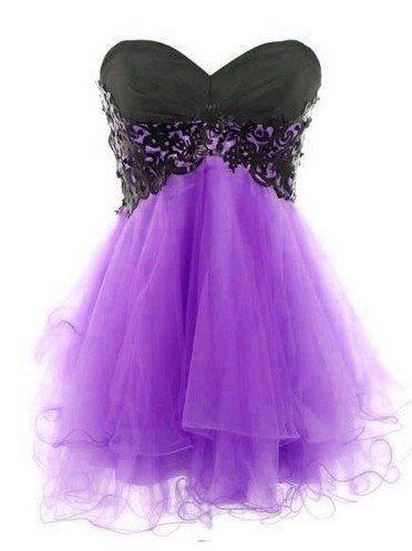 Vintage Black Purple Tulle Short Prom Dresslace Cocktail Dressmini