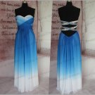 Custom Made Royal Blue Ombre Prom Dress,Open Back  Gradient Evening Dresses,Long Bridesmaid Dress