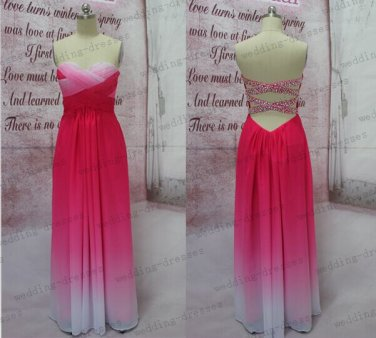 Sexy Hot Pink Ombre Chiffon Open Back Long Prom Dress,Gradient Evening Prom Dresses,Bridesmaid Dress
