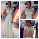 Custom Made A-line Scoop V-back Sleeveless Prom Dress,Beading Homecoming Dress