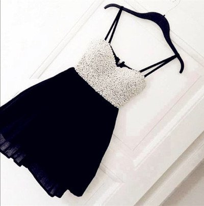 Sapghetti Straps Pearls Black Short Prom Gowns Homecoming Dress Custom Made Cheap Cocktail Dresses