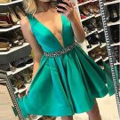 V Neck Off the Shoulder Green Short Prom Dresses Homecoming Dress Party Gowns With beads Belt