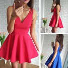 Simple Satin V-neck Neckline Elegant Short Length A-line Homecoming Dress H02