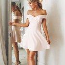 Sexy Satin Off-the-shoulder Neckline Short Length A-line Homecoming Dress H06