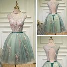 Charming A-Line Lace Tulle Knee Length Homecoming Dresses H10