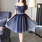 Sweetheart Off Shoulder Short Sleeve Navy A-Line Homecoming Dresses H16