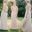 Chic One Shoulder Chiffon Sleeveless Floor Length Cheap Bridesmaid Dresses B03