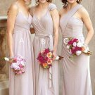 Charming Simple Chiffon Pink Floor Length Bridesmaid Dresses B04