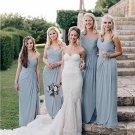 Elegant Chiffon One Shoulder Side Slit Long Bridesmaid Dresses B05