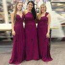 Charming Floor Length Soft Satin Sleeveless Bridesmaid Dresses B06