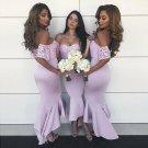Sexy Lace Off Shoulder Short Sleeve Soft Satin Bridesmaid Dresses B09