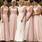 Romantic Chiffon Formal A Line Floor-Length With Applique Bridesmaid Dresses B11