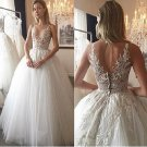 Lvory Wedding Dresses Floor-length Appliques Tulle Bridal Gown W10