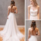 Sexy Spaghetti Straps V-neck Tulle with Lace Wedding Dress W11