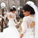 Elegant 3/4-Length Sleeve Ivory Bowknot Tulle with Lace Wedding Dress W12