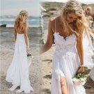 Charming Spaghetti Straps Lace Ivory Simple Beach Sleeveless Bridal Gown W14