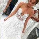 Simple A-line V-neck Sweep TrainBridal Gown Lace Wedding Dress W16