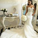 Gorgeous Sleeveless Sweetheart Lace Strapless  Wedding Dress W19