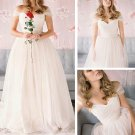 Sexy Off-the-shoulder Floor-length Spaghetti Straps Tulle Wedding Dresses W23