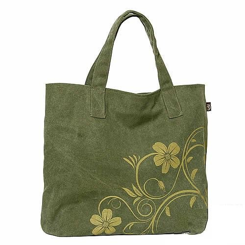 Recycled Canvas hangbag Tote Diaper Notebook bag - Flower in Green Canvas