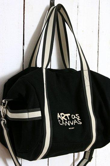 Recycled Canvas shoulder Tote Messenger Bag - Black color