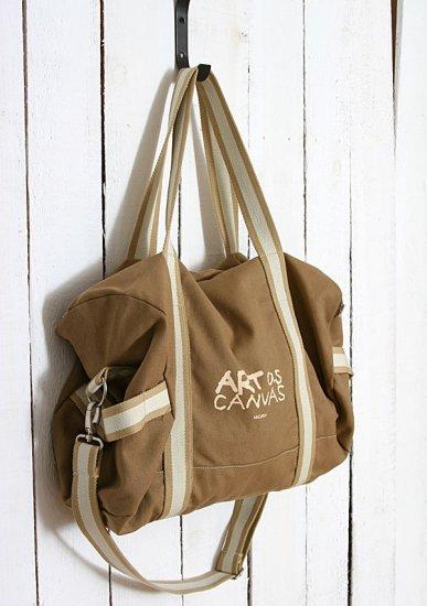 Recycled Canvas shoulder Tote Messenger Bag - Brown color
