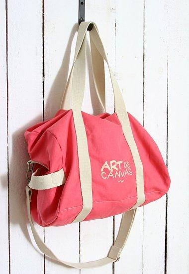 Recycled Canvas shoulder Tote Messenger Bag - Pink color
