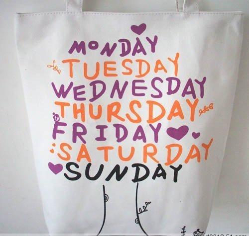 Mon Tue Wed Thur Fri Sat Sun Canvas Tote shopping Bag