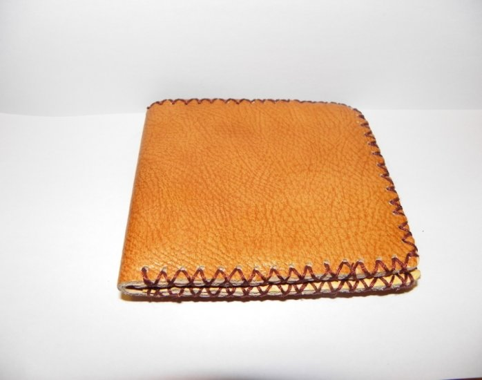 Father Gift Rustic Two Folded Cow Leather Purse Wallet