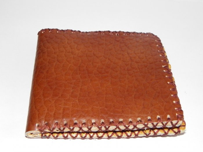 Father Gift Rustic Two Folded Cow Leather Purse Wallet E4