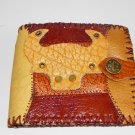 Father Gift Rustic Two Folded Cow Leather Purse Wallet OX