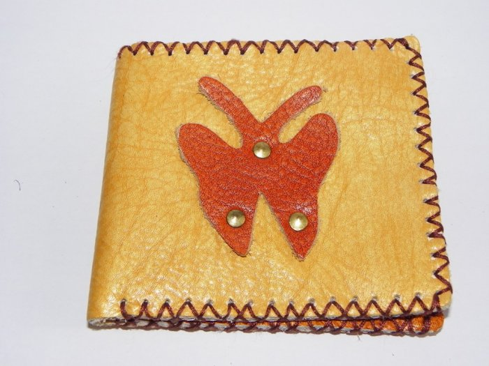 Rustic Two Folded Cow Leather Purse Wallet Red Bufferfly