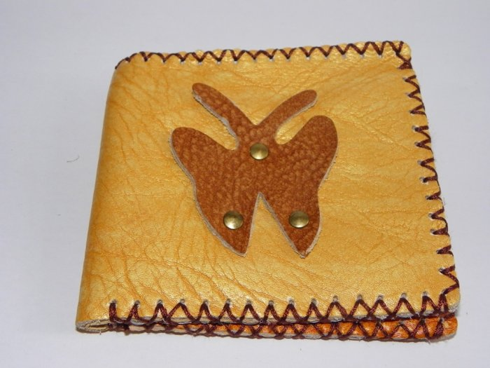Rustic Two Folded Cow Leather Purse Wallet Brown Bufferfly