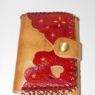Rustic Three Folded Cow Leather Purse Wallet - Red