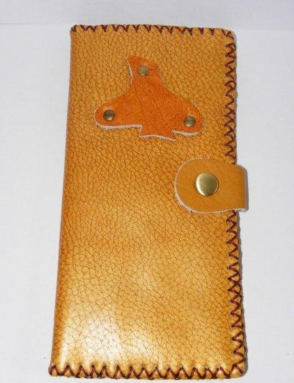 Rustic Two Folded Cow Leather Long Size Purse Wallet Bird Pattern