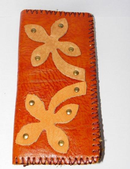 Rustic Two Folded Cow Leather Long Size Purse Wallet Flower Pattern