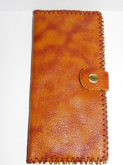 Rustic Two Folded Cow Leather Long Size Purse Wallet Flower Pattern