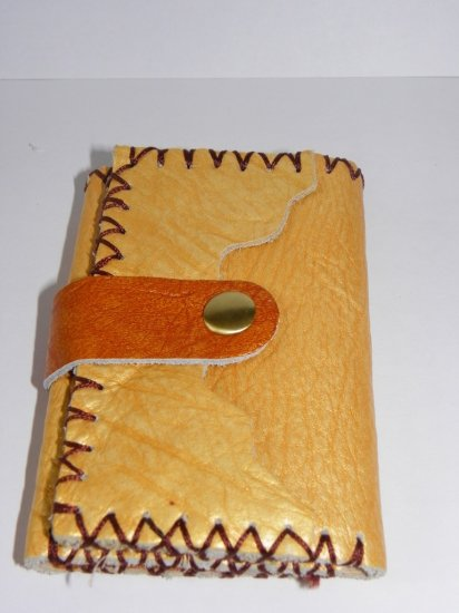 Rustic Three Folded Cow Leather Purse Wallet - Yellow