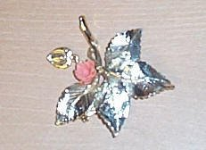 Beautiful Silver Leaf pin with the Miraculous Medal