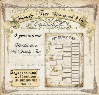 Family Tree: Steampunk #1a (beige/tan, A4 size, JPG)