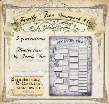 Family Tree: Steampunk #1c (blue, A4 size, JPG)