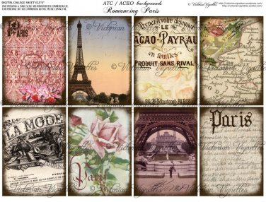 ATC/ACEO backs: Romancing Paris