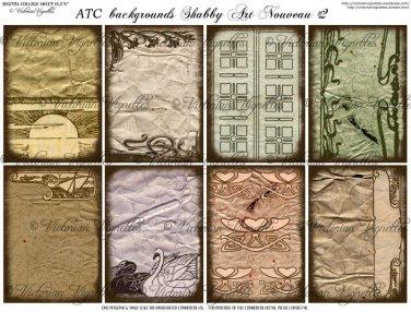 ATC/ACEO backs: Shabby Art Nouveau #2