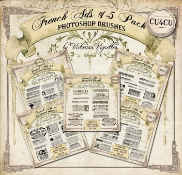 PS Brush Pack: French Ads #1-5 (CU4CU, PNG's included)