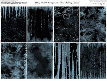 ATC/ACEO backs: Dark Glittery Winter