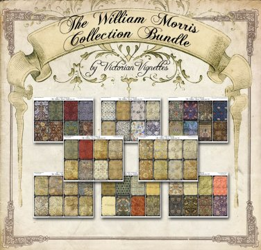 Special Offer: All 8 William Morris Collection ATC backs Collage Sheets (save $5.92)