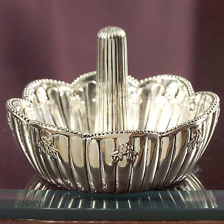 Godinger silver plated floral ring holder
