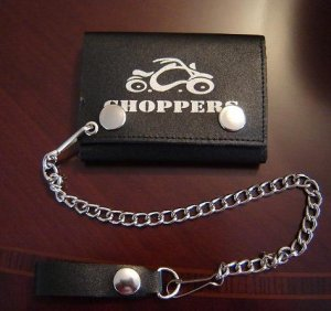 Black Leather Choppers Bike Tri Fold Chain Wallet