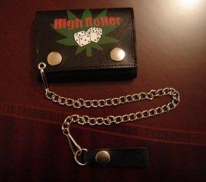 Black Leather Tri Fold Chain Wallet